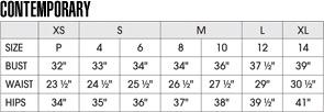 Layana Aguilar size chart