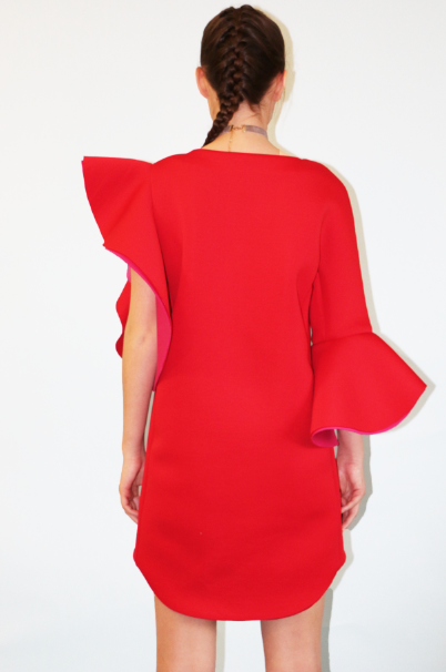 Back of LAYANA AGUILAR asymmetrical dress