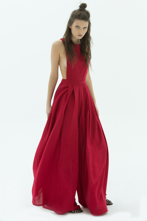 LAYANA AGUILAR fit and flare jumpsuit with open back