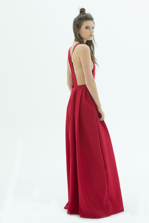 Back view of LAYANA AGUILAR fit and flare jumpsuit
