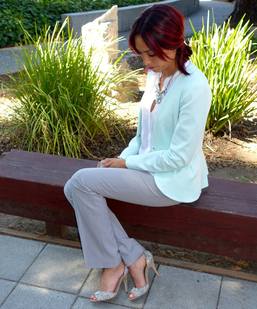 Sparkly sandals, grey and white pairing