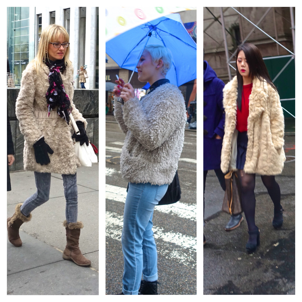 White fur coats in New York City