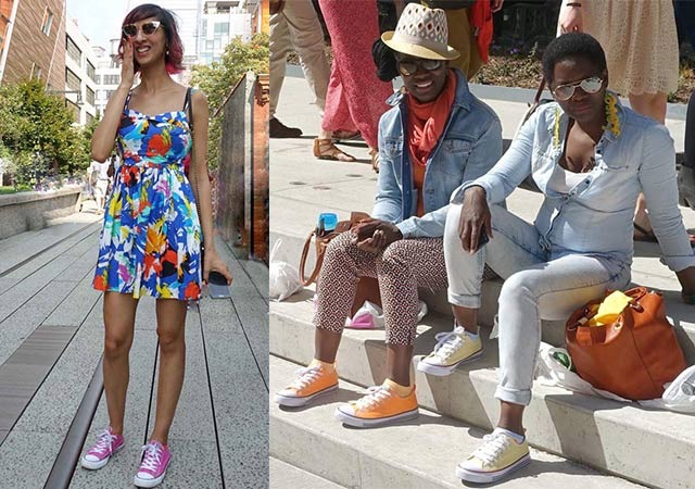 How to wear bright colors and Converse