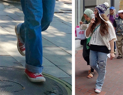 How not to wear Converse - wide legs
