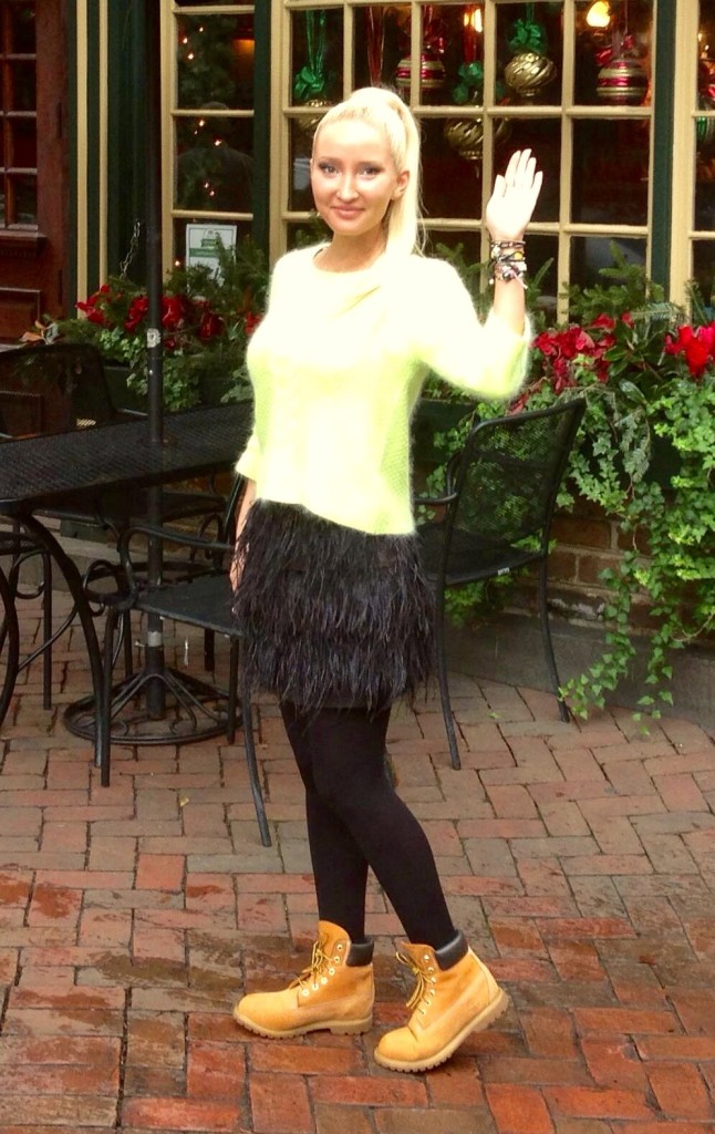 #ootd - ostrich feather skirt