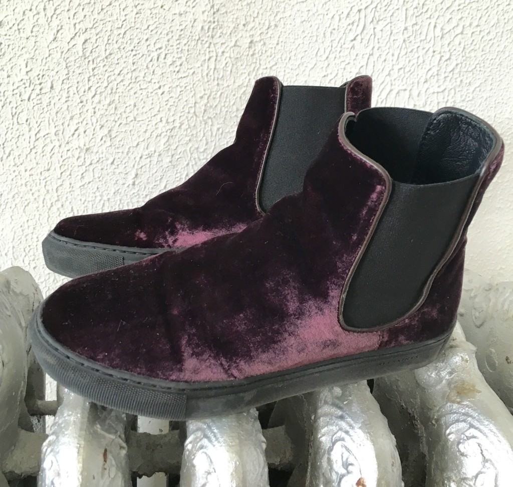 Purple velvet All Saints sneakers