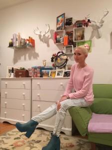 Liliya Anisimova in Hunter boots
