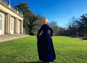 Liliya Anisimova's blue velvet dress