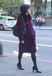 Elegant statement coat in purple