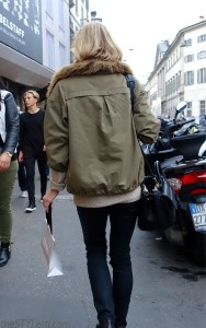 Fur collar coat seen in Milan