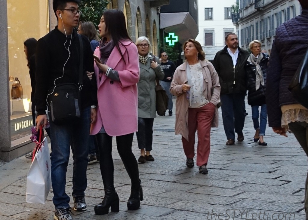 Pink wool statement coat seen in Milan