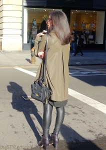 Olive-colored leather statement coat