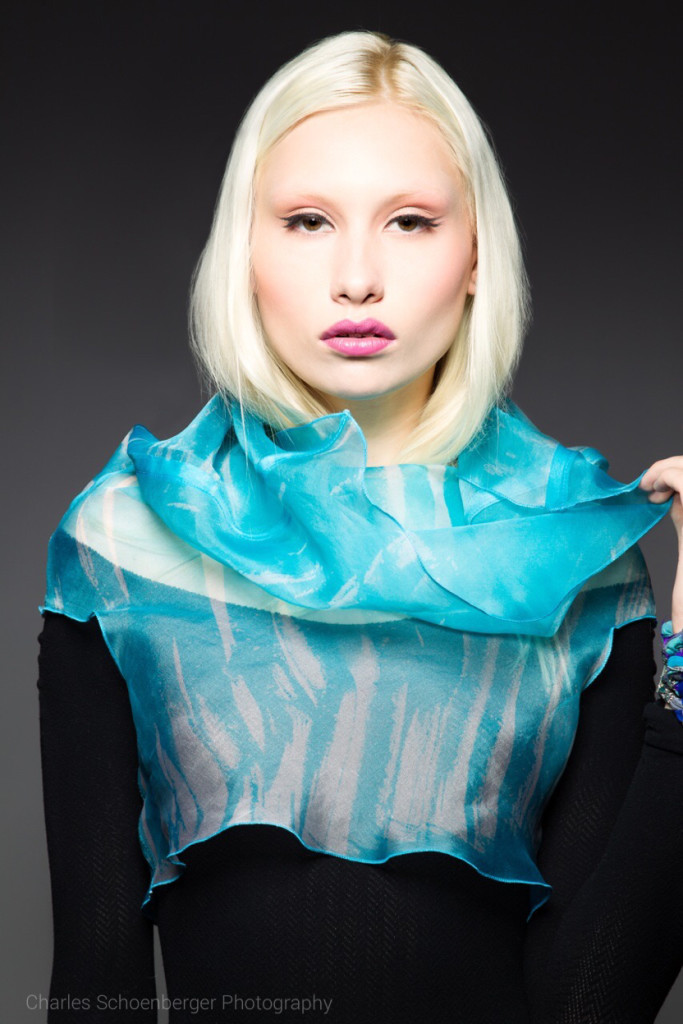 Wearable art silk scarf