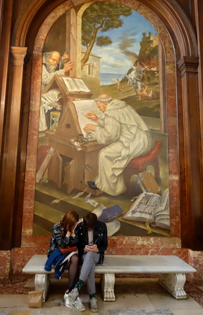 New York Public Library mural, texting