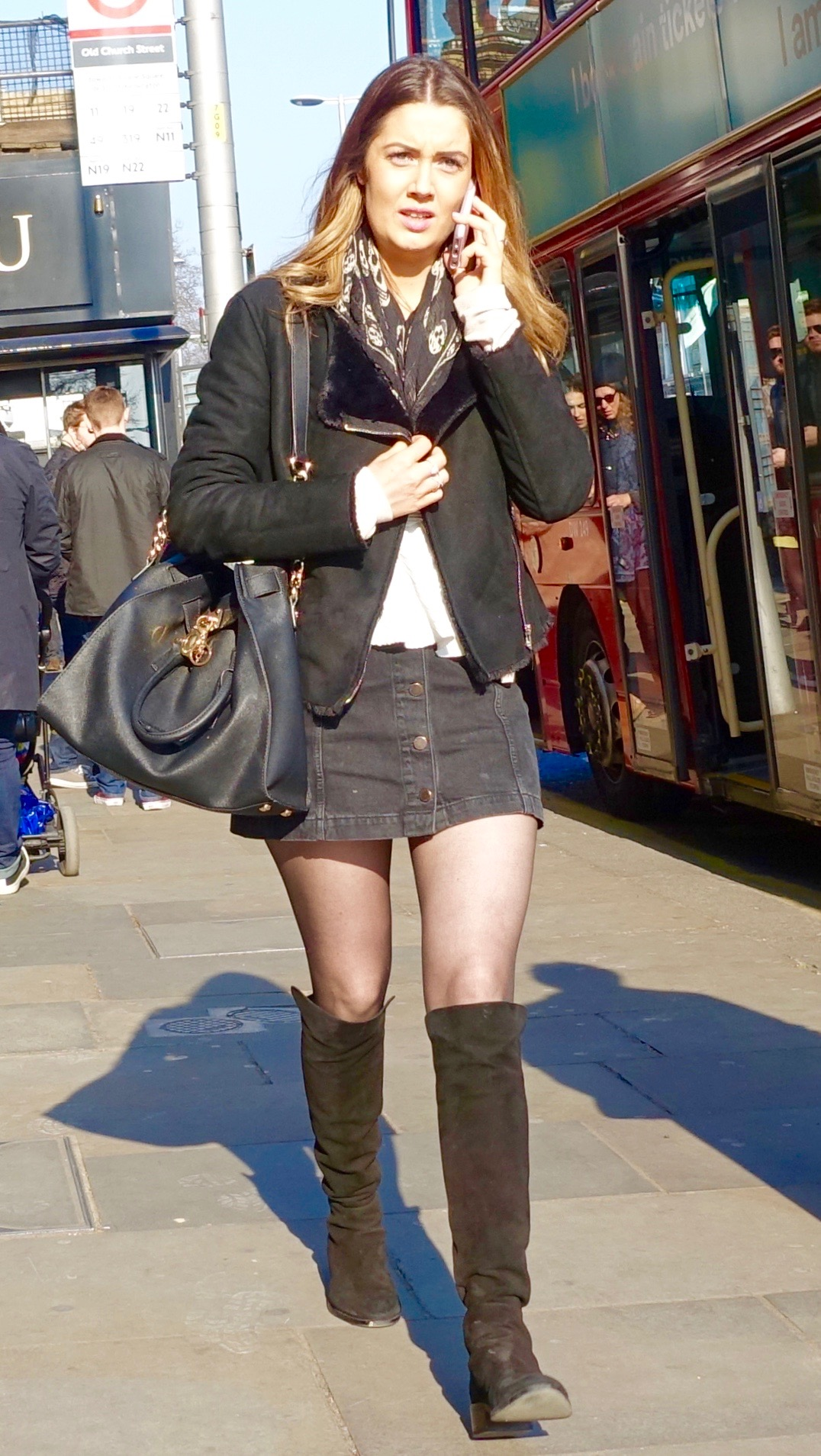 Wanna Dress Like a Londoner? Try Black Tights and a Short Skirt ...