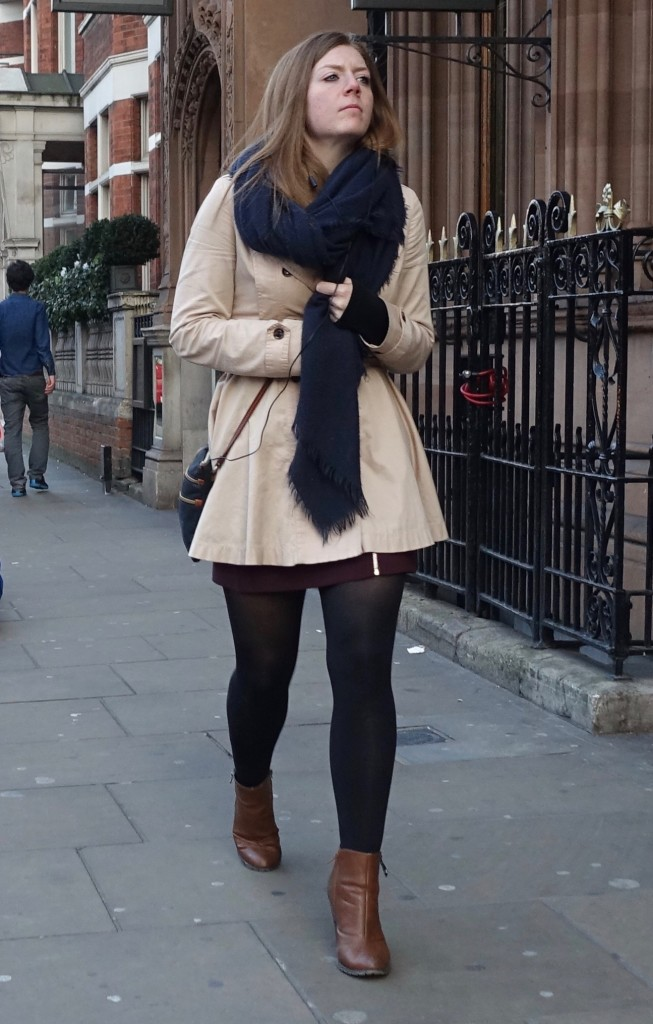 black tights, short skirts in London