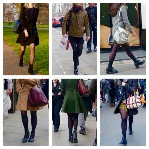 black tights, short skirts in London