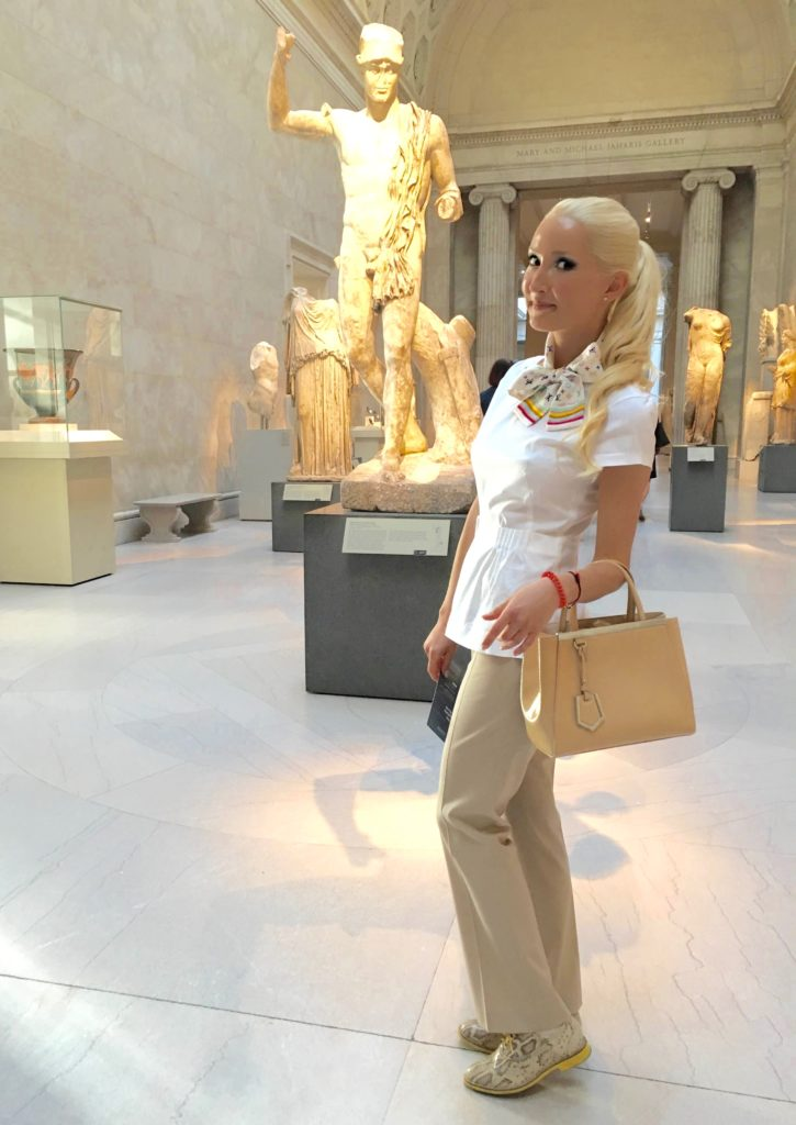 Liliya Anisimova's outfit for a Met exhibit