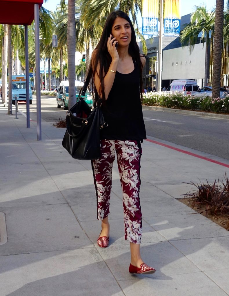 Floral cigarette pants
