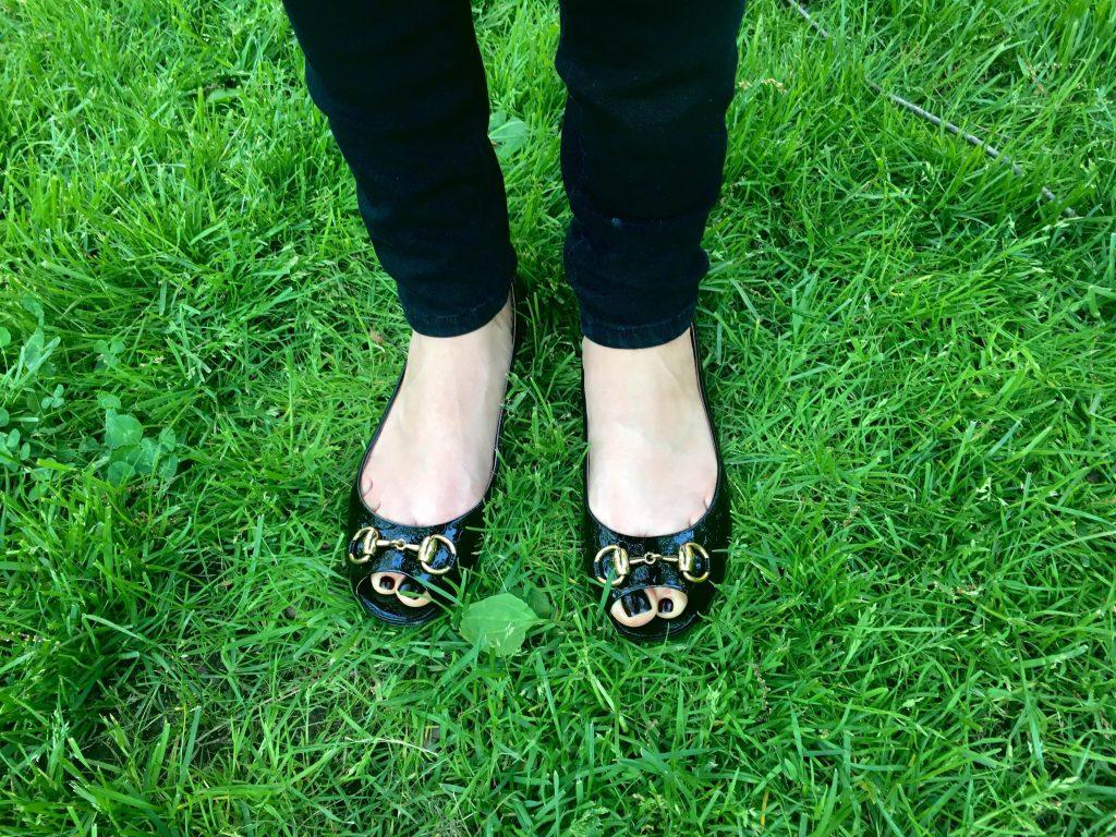 Liliya's Gucci shoes at Harvard Yard