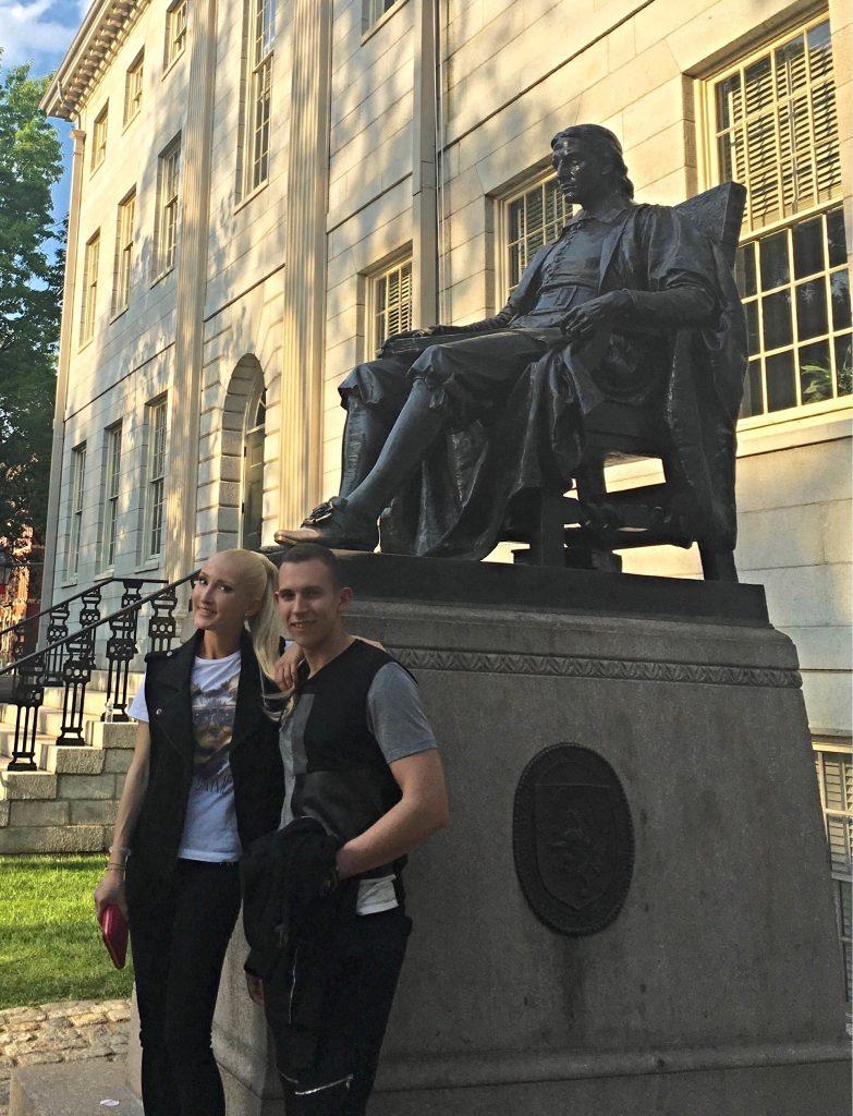 Liliya and Kostya at Harvard Yard