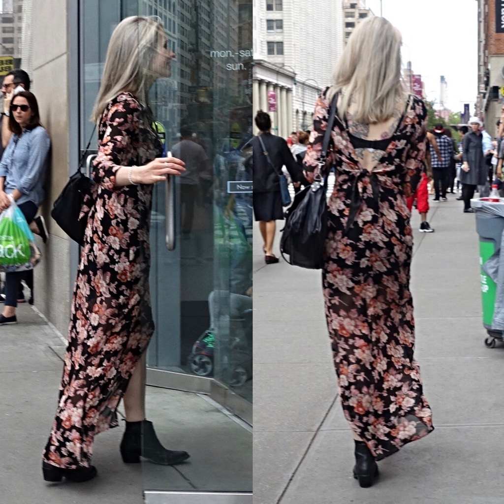Floral maxi dress with open back