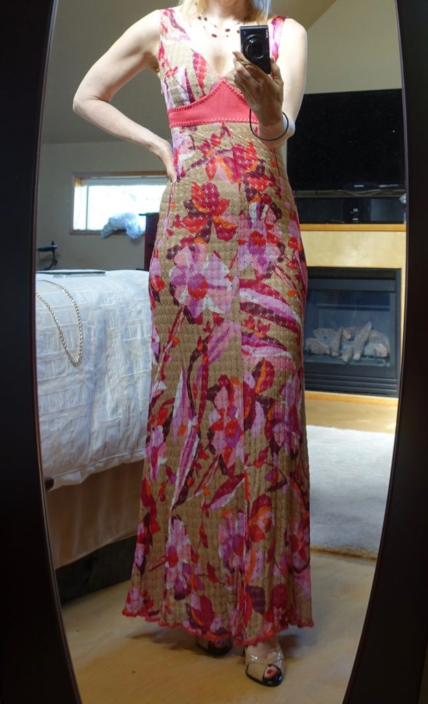 Missoni maxi dress in front of mirror