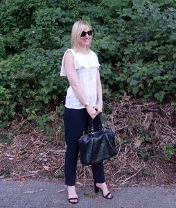 Janea's #OOTD - ruffle top, navy pants