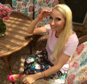Liliya's pink and floral outfit