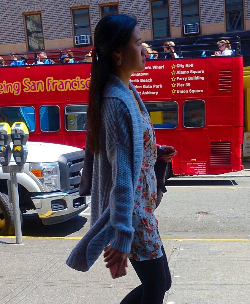 Long cardigan over short dress