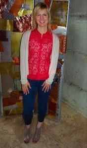 Bright top, darker jeans