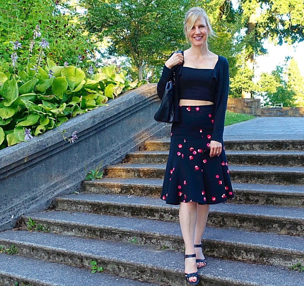 crop top - midi skirt walking down stairs