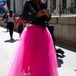 Bright pink street style at the Jeremy Scott show