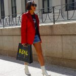 Shiny red jacket for the Jeremy Scott fashion show