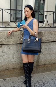 Fashion week outfit with short dress and boots