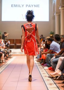 Back of red dress, Emily Payne's show