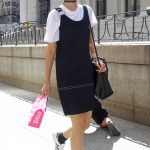 Black dress over a white tee, NYFW