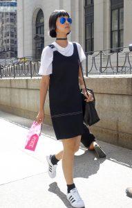 Black dress over a white tee, NYFW