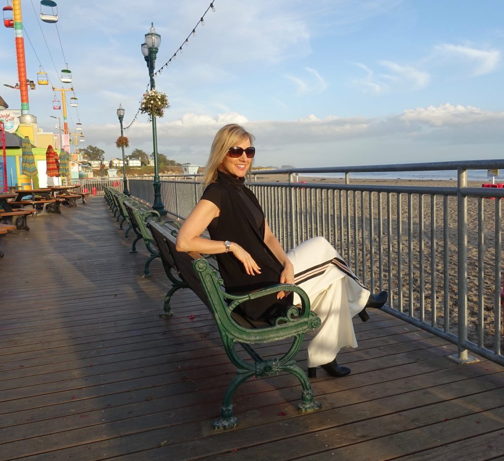 Wide-legged pants at the Santa Cruz beach boardwalk