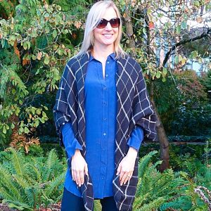 Blanket scarf over a tunic