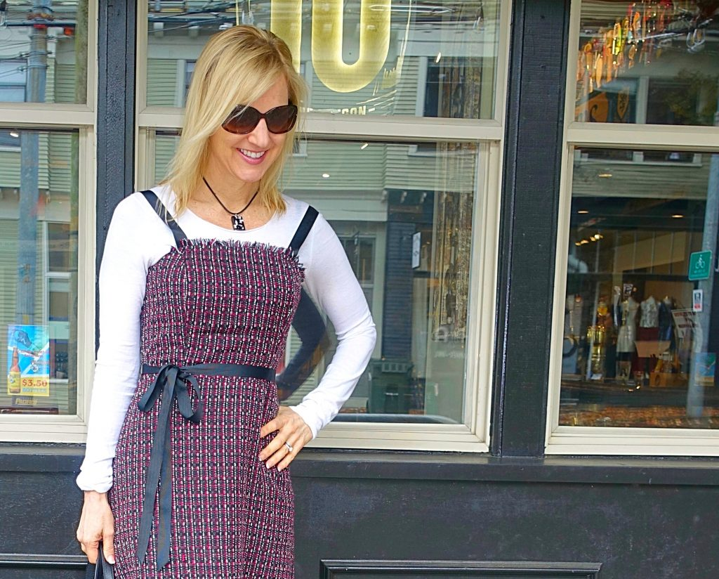 Layering a dress over a long-sleeved top