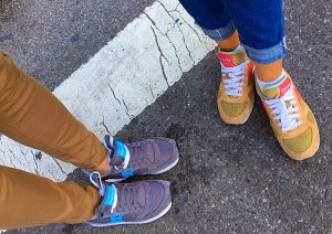 Matching Saucony sneakers