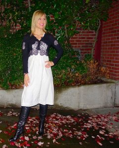 White summer dress with black cardi and boots