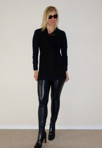 Leather leggings and sweater travel look