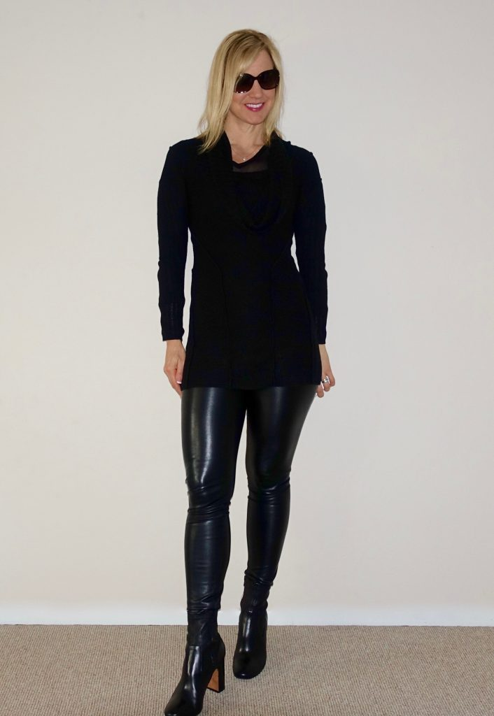 Leather leggings with a sweater