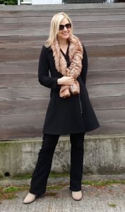 Make outerwear more stylish with a faux fur scarf