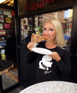 Liliya at the legendary Joe's Pizza