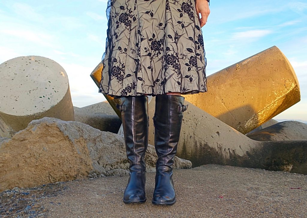 Styling my riding boots with an A-line skirt