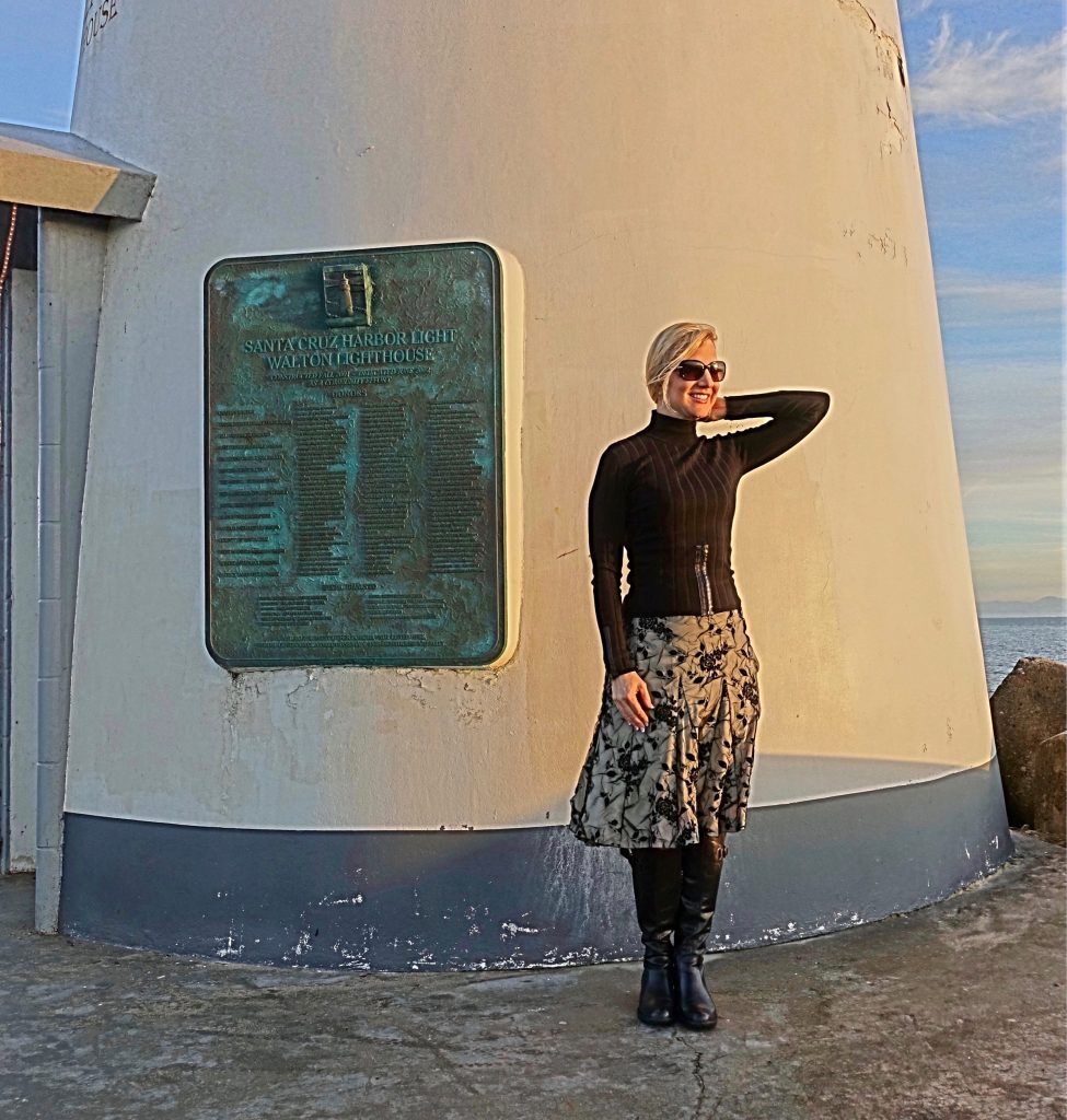 My riding boot outfit in front of the Seabright lighthouse