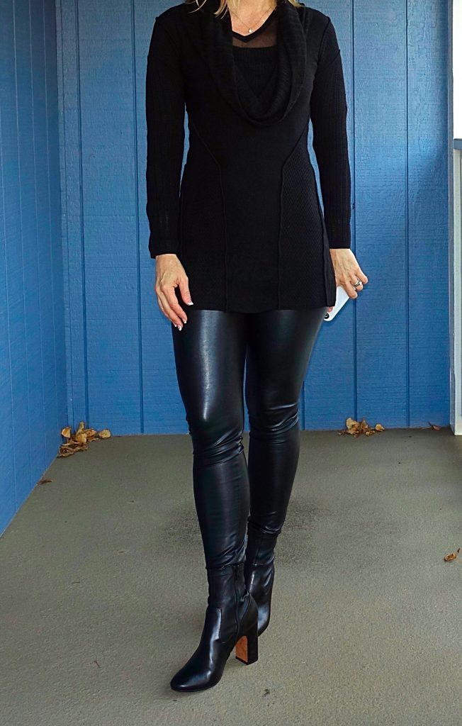 Vegan leather leggings with a long sweater
